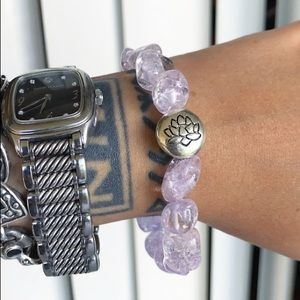 🔴SALE ! Purple pink quartz lotus flower bracelet